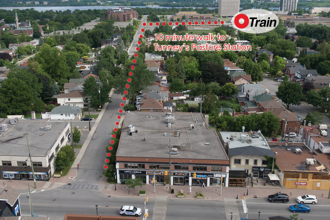 aerial photo 1327 wellington street west showing proximity to tunney's pasture station
