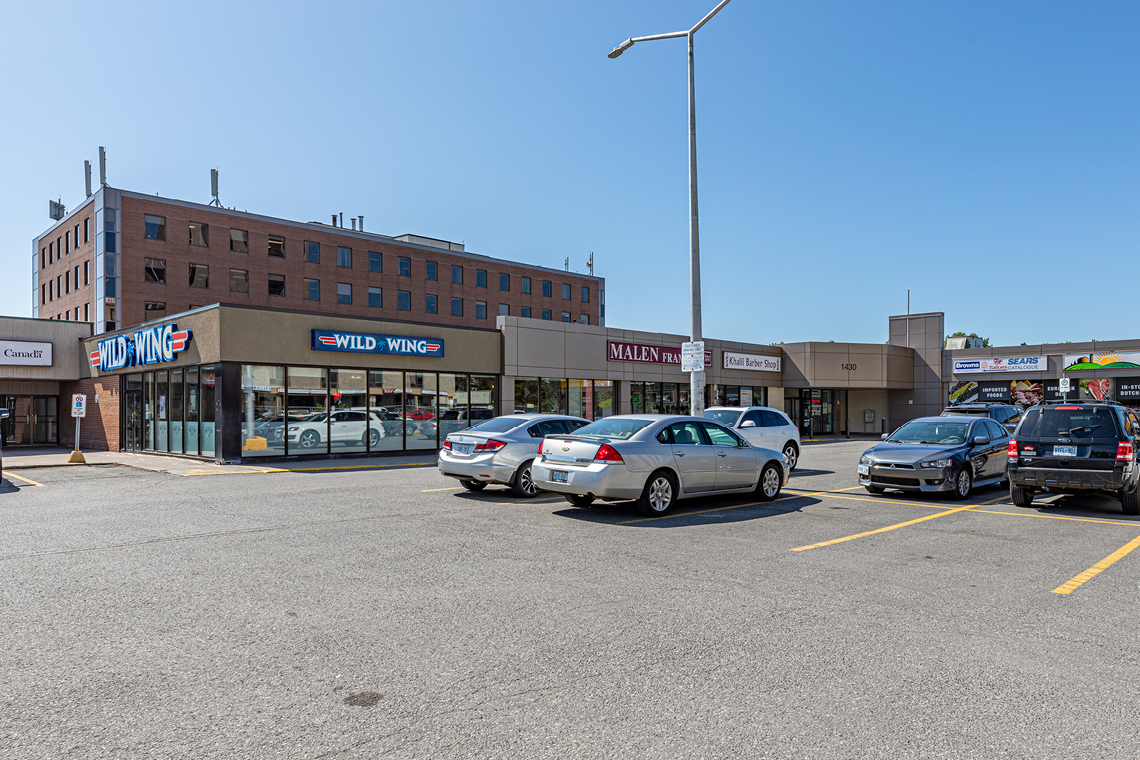 retail and parking view from 1430 prince of wales drive entrance