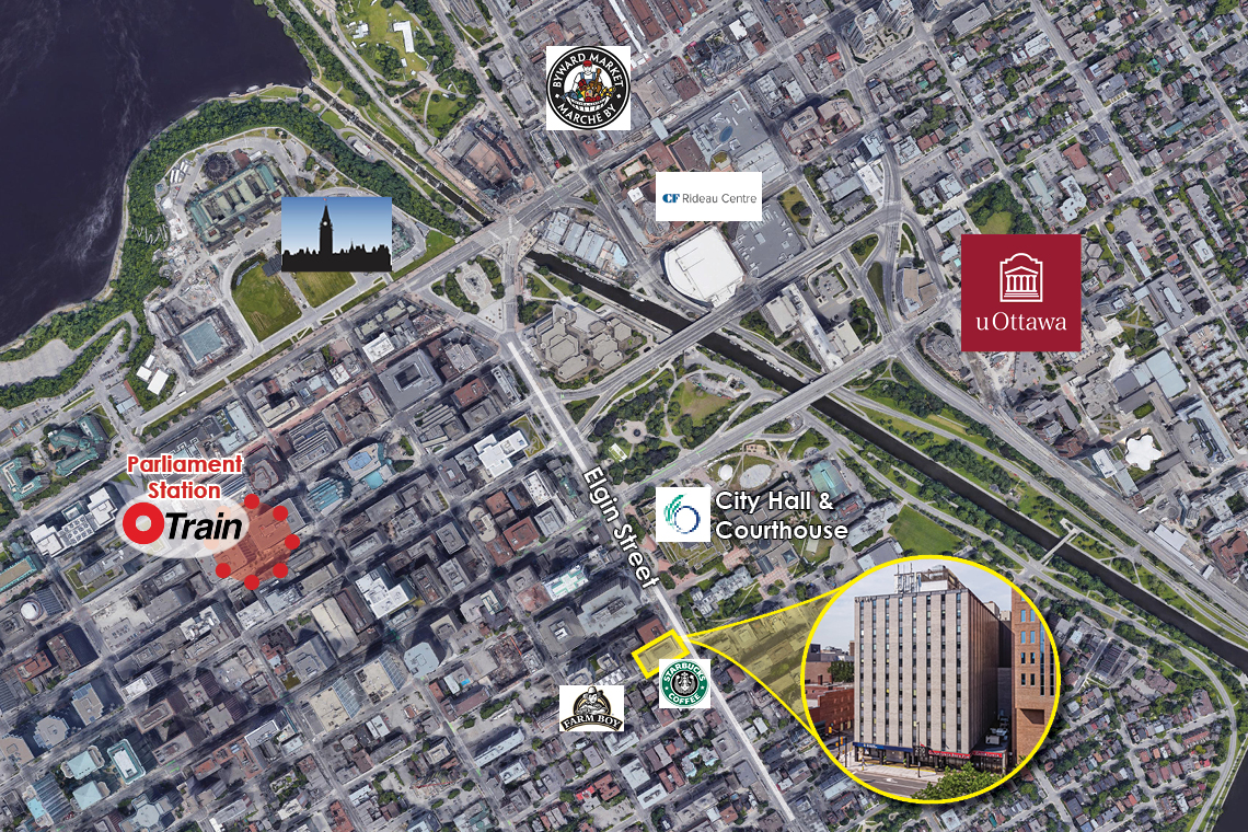 map of downtown ottawa with indicator for 200 elgin street
