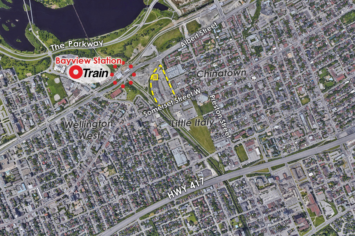 map of ottawa west showing 250 city centre avenue