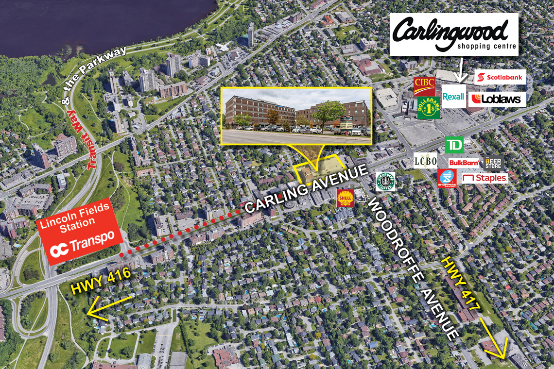 map of ottawa west showing 2249-2255 carling avenue
