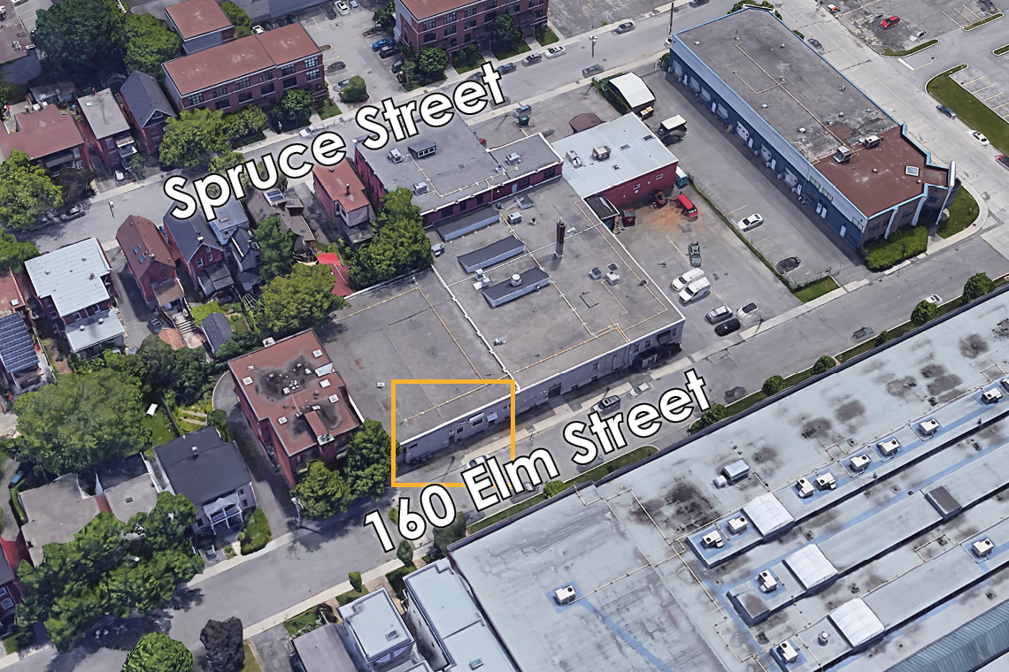 map showing entrance to 160 elm street basement storage units