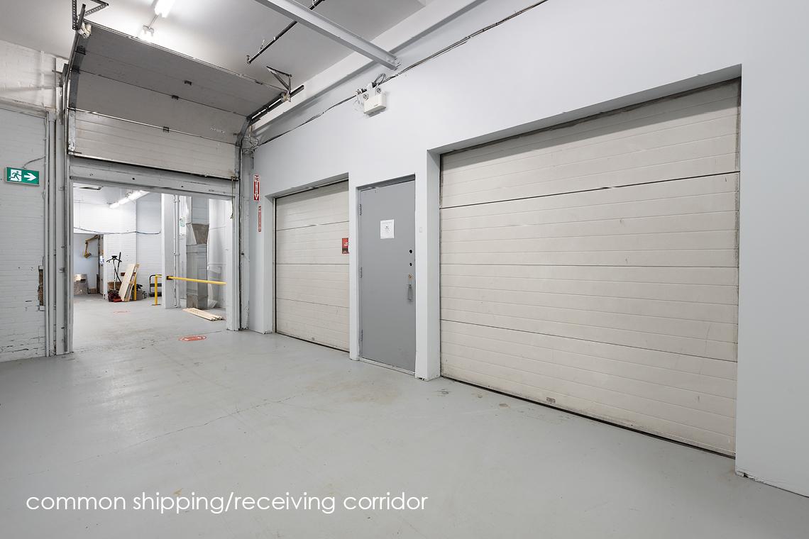 166 elm street interior of overhead doors from common loading corridor