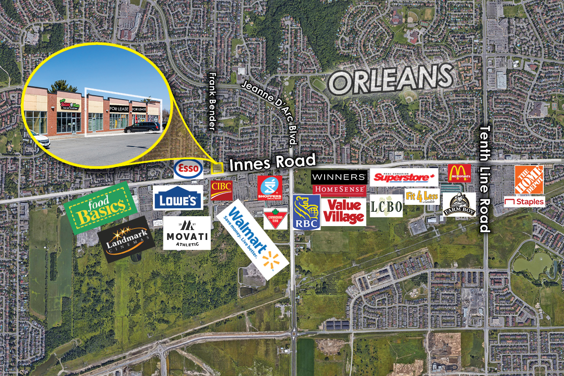 map of orleans showing 3885 innes road
