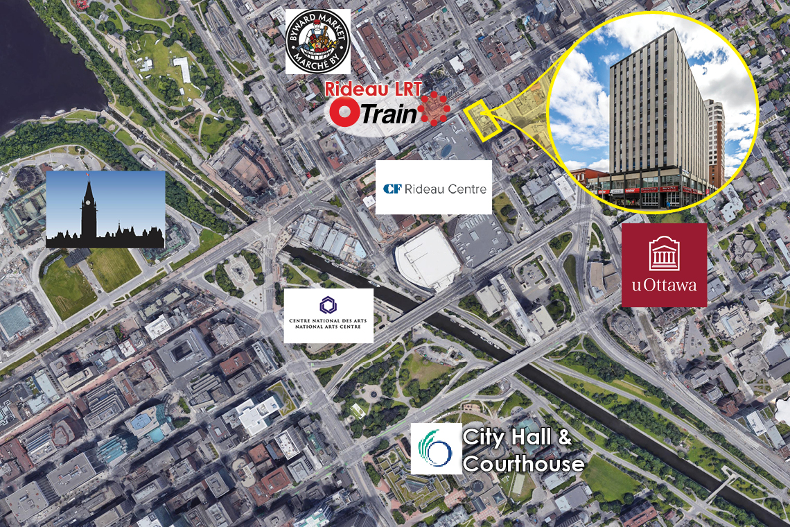 map of downtown ottawa with indicator for 1 nicholas