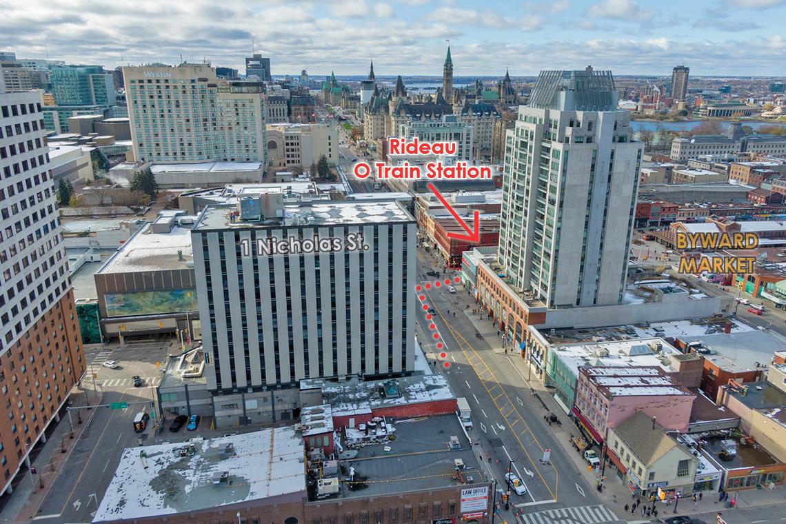 aerial view 1 nicholas showing close proximity to LRT on Rideau Street