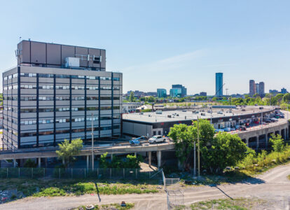 aerial photo of upper level warehouse bays 250 city centre