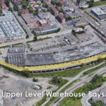 aerial view of access ramp to upper level bays 250 city centre