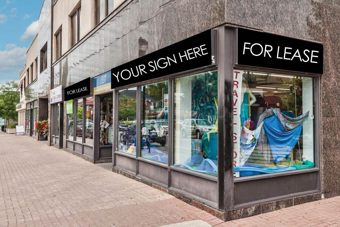 storefront 1337 wellington street west retail space for lease building signage