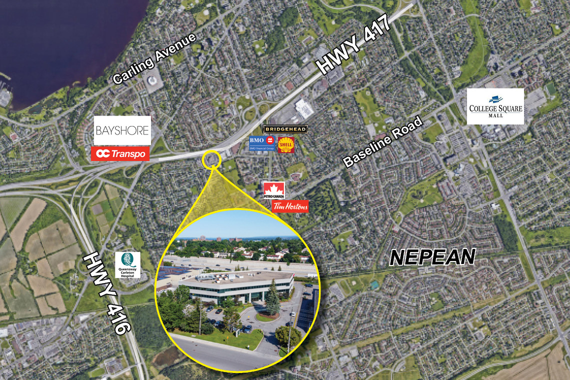 map of nepean showing 1130 morrison drive
